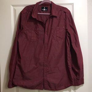 Men's Dark Red Casual Button Down Shirt